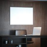 Interior clásico con el lugar de trabajo y la lona grande blanca representación 3d Foto de archivo libre de regalías