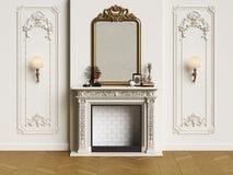 Interior clásico con la chimenea stock de ilustración
