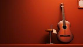 Interior clásico de la guitarra Fotos de archivo