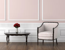 Interior clásico del color de rosa y blanco ilustración del vector