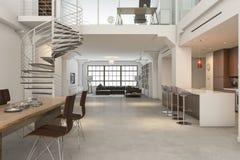 interior clásico del desván de la representación 3d de la cocina que cena y que vive stock de ilustración