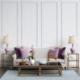Interior clásico en colores en colores pastel con el espacio de la copia Imágenes de archivo libres de regalías