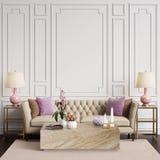 Interior clásico en colores en colores pastel con el espacio de la copia Imagenes de archivo