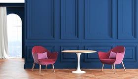 Interior clásico moderno del sitio vacío con el azul, las paredes del añil, el rojo, las butacas de Borgoña, la tabla, la cortina Foto de archivo