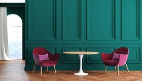 Interior clásico moderno del sitio vacío con las paredes verdes, el rojo, las butacas de Borgoña, la tabla, la cortina y la venta Imagen de archivo