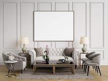 Interior clásico Sofá, sillas, sidetables con las lámparas, tabla con la decoración