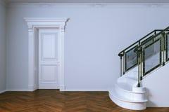 Interior clássico com a escadaria de madeira da porta e do mármore rende 3D Imagem de Stock Royalty Free