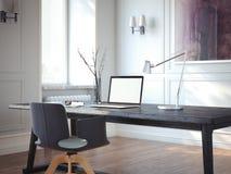 Interior clássico com local de trabalho moderno rendição 3d Imagens de Stock Royalty Free