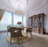 Interior clássico luxuoso da sala de jantar, da cozinha e da sala de visitas com mobília marrom e os candelabros de cristal ilustração stock