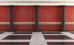 Interior clássico preto e vermelho ilustração do vetor