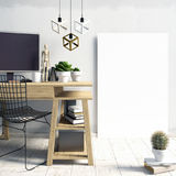 Interior claro moderno no sótão do estilo, um lugar para o estudo, contra Fotografia de Stock