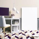 Interior claro moderno, um lugar para o estudo, consistindo no trabalho Foto de Stock Royalty Free