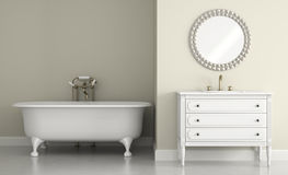 Interior of classic bathroom with round mirror 3D rendering Stock Photos