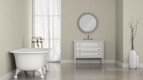 Interior of classic bathroom with round mirror and vases Royalty Free Stock Photography