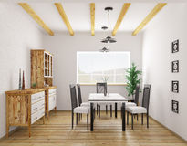 Interior of classic dining room 3d rendering Royalty Free Stock Image