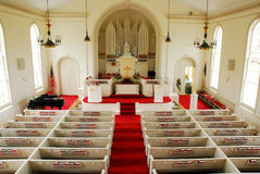Interior of the Classic Greenfield Hill Congregational Church, Connecticut. The greenfield Congregational Church has the traditional booth pews stock image