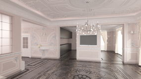 Interior of classic home. Realistic 3d illustration of classic home interior with chandelier Stock Photography