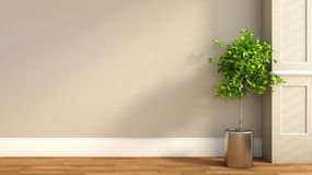 Interior in classic style with plant. 3D illustration Stock Photography