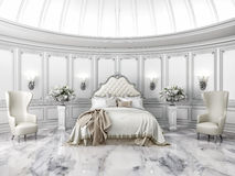 Interior of a classic style round bedroom vector illustration