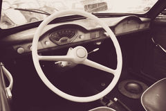 Interior of a classic vintage car Stock Images
