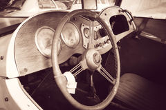 Interior of a classic vintage car Royalty Free Stock Photo