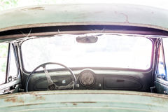 Interior of a classic vintage old car Stock Photos