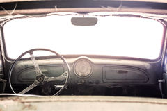 Interior of a classic vintage old car Royalty Free Stock Photos