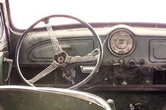Interior of a classic vintage old car. Vintage style Royalty Free Stock Photo