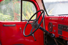 Interior of classic vintage red car Royalty Free Stock Images