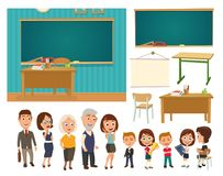 Interior of classroom with desk and blackboard. Interior of classroom with desk, blackboard, chipboard, chair and people. Color vector flat illustration royalty free illustration
