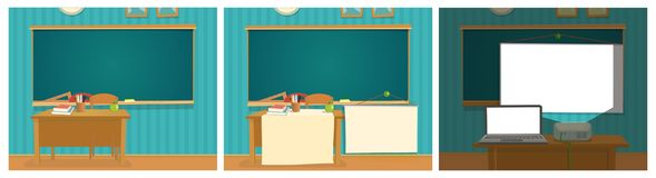 Interior of classroom with desk and blackboard. royalty free illustration