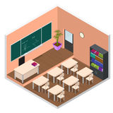 Interior Classroom with Furniture Isometric View. Vector Royalty Free Stock Photos