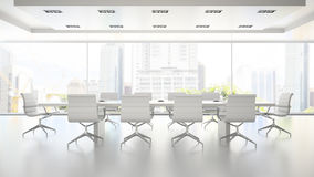 Interior of clean white boardroom 3D rendering 2 Royalty Free Stock Image