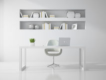 Interior of clean white  office room 3D rendering Stock Photography