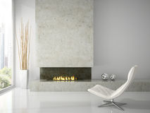 Interior of clean  white room with fireplace 3D rendering Stock Photos