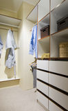 Interior closet. Interior of a closet with drawers and shelves wood royalty free stock photo