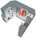 interior closet cutaway illustration wardrobe room Stock Photography