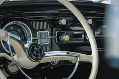 Interior closeup of a volkswagen beetle classic car royalty free stock images