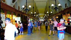 Interior of Cloth Hall in Krakow, Poland stock video footage