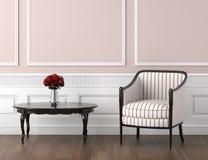 Interior clásico del color de rosa y blanco Fotografía de archivo libre de regalías