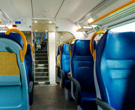 Interior of the coach. Seats of the passenger train in Italy Stock Photography