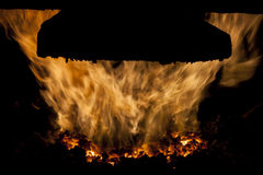Interior of  coal  furnace. Royalty Free Stock Photography
