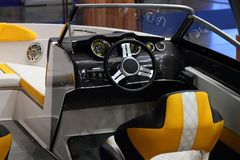 Interior and cockpit of speedboat. Interior and cockpit of a modern speedboat Stock Photos