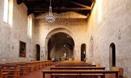 Interior of Collegiata di Sant'Agata church in Asciano (Siena) Royalty Free Stock Photography