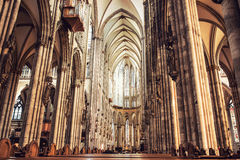 Interior of Cologne Cathedral. Remarkable old interior of Cologne catholic Cathedral, Germany Royalty Free Stock Photography
