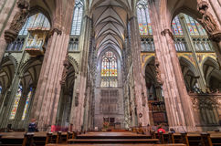 Interior of the Cologne Cathedral. Roman Catholic cathedral. Royalty Free Stock Photography