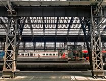 Interior of Cologne central railway station royalty free stock photo