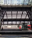 Interior of Cologne central railway station stock image