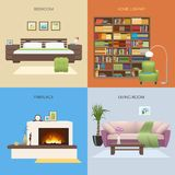 Interior Colored Compositions. With bedroom and home library fireplace and comfortable lounge isolated vector illustration Stock Photo