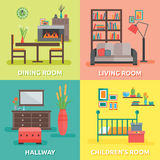 Interior Colored Compositions. With four square  icon set on themes for every room in the house vector illustration Royalty Free Stock Photography